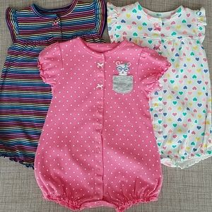 (Set of 3) Carters Multicolor Rompers